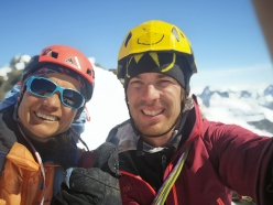 Rosa Morotti and Tito Arosio after having established a new route up the East Face of Piz Buin, Silvretta, on 31/03/2019