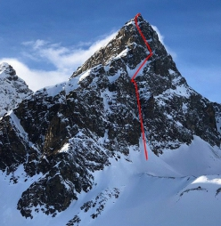 Piz Buin East Face and the route first ascended by Tito Arosio and Rosa Morotti on 31/03/2019