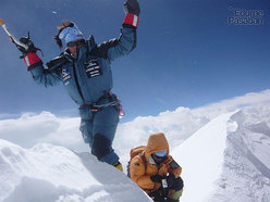 Edurne Pasaban on the summit of Annapurna