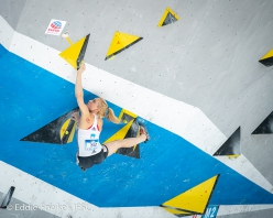 Janja Garnbret on her way to her fourth consecutive victory this season at Wujiang, Bouldering World Cup 2019