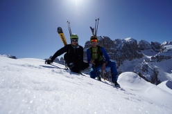 Luca Dallavalle and his brother Roberto Dallavalle on the summit of Crozzon di Val d'Agola, Brenta Dolomites