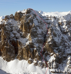 Crozzon di Val d'Agola in the Brenta Dolomites and the line skied on 01/05/2019 by Luca Dallavalle and his brother Roberto Dallavall. The photo was taken in February from Foto di febbraio fatta Cima Mandròn