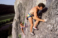 Kurt Albert climbing with his close friend Wolfgang Güllich. In 1975 Albert invented the redpoint philosophy in Frankenjura, considered nowadays the standard for sport climbing worldwide