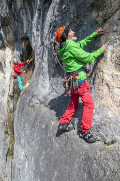 Marcel Rèmy climbing the Les Guêpes, aged a staggering 96. Here he is pictured attempting the second pitch graded 6a