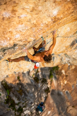 Jonathan Siegrist climbing La planta de shiva, the 9b at Villanueva del Rosario in Spain freed by Adam Ondra and repeated so far by only Jakob Schubert and Angela Eiter.
