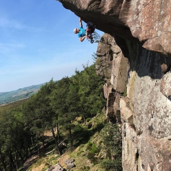 Jesse Dufton, the blind British paraclimber, repeating the famous trad climb The Sloth at The Roaches in England. The ascent has been described by those who know as redefining the word 'impressive'.