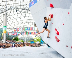 Fanny Gibert competing in the Bouldering World Cup 2019 at Munich