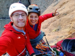 Iker Pou and Neus Colom making the first ascent of Honey Moon up Oujdad, Taghia Gorge, Morocco (05/2019)