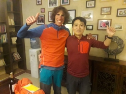 Tomas Franchini with Minya Konka at the start of the climbing expedition to Lamo She in China