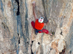 Rolando Larcher climbing the second pitch (8b) of Mezzogiorno di fuoco, Punta Giradili, Sardinia