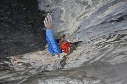 Matthias Trottmann climbing his Piz Dal Nas (8b, 500m), Titlis, Switzerland