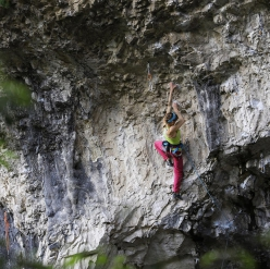 Angela Eiter climbing Pure Dreaming 9a at Massone, Arco