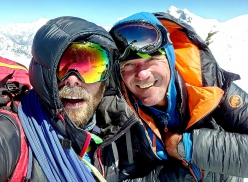 Zdeněk Hák and Márek Holeček on the summit of Chamlang after having climbed the NW Face. 'We have agreed that this is the hardest climb we have done together in the mountains, ABO in other words.'