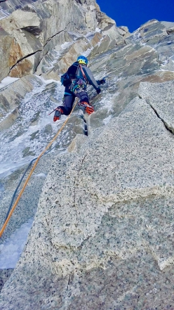 Ezio Marlier on Grand Flambeau (Mont Blanc) making the first ascent of Koala Pirla with Alberto Corbella