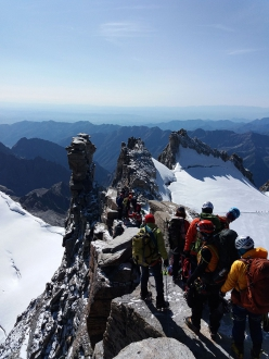 Queues on the summit of Gran Paradiso