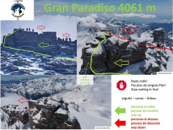 Gran Paradiso: the recommended ascent route and different descent route in order to avoid queues forming on the final meters to the summit.