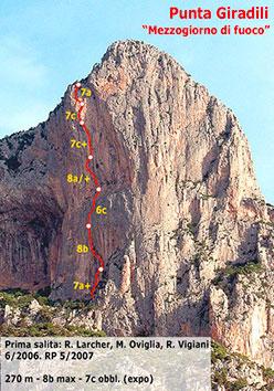 Mezzogiorno di fuoco (270m, 8b max, 7c obblig) , Punta Giradili, Sardinia