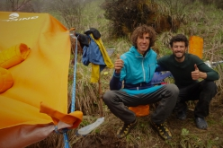 Tomas Franchini and Pietro Picco at Base Camp below the East Face of Lamo She in China