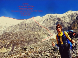 Tomas Franchini and the line of Wild Blood, ie his solo ascent of the East Face of Lamo She (6070m) in China carried out on 14/05/2019