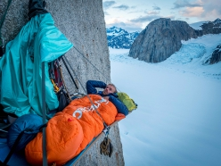 Dan Joll relaxing into another night on the portaledge on King Cobra on Mount Barrill, Alaska