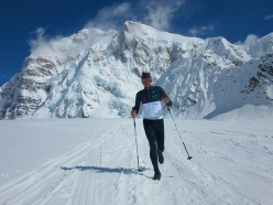Karl Egloff racing back to Denali Base Camp to set the roundtrip time of 11:44