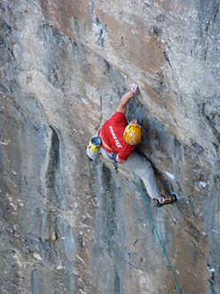 Dave Macleod making the third ascent of Tim Emmett's