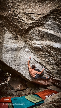Bernd Zangerl in Valle dell'Orco, Italy, freeing the sds to I Coloniali, the boulder problem freed years ago by Niccolò Ceria