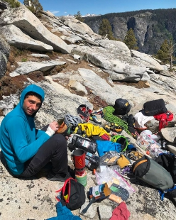 Jacopo Larcher on the summit of El Capitan in Yosemite after having repeated the Pre-Muir Wall with Barbara Zangerl