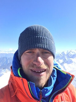 Simon Messner on the summit of Geshot Peak / Toshe III in Pakistan on 29/06/2019 after having completed his solo ascent of