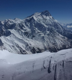 View from the summit of Geshot Peak / Toshe III in Pakistan towards Nanga Parbat. The photo was taken on 29/06/2019 by Simon Messner during his solo ascent of the mountain