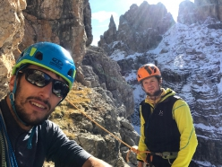 Francesco Salvaterra and Nicola Castagna making the first ascent of Via Greta, Cima Grostè, Dolomiti di Brenta (Francesco Salvaterra, Nicola Castagna)