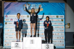 2 Chaehyun Seo 1 Janja Garnbret 3 Ai Mori, women's podium of the first stage of the Lead World Cup 2019 at Villars, Switzerland