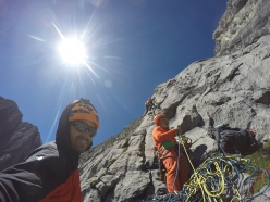 Eneko Pou, Manu Ponce and Iker Pou climbing their new route up the North Face of Cerro Tornillo in Peru