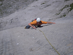 Mario Fullin during the first free ascent of Transocean on the Pfaffenhut, Wenden, Switzerland