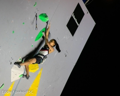 Chaehyun Seo competing in the semifinals of the third stage of the Lead World Cup 2018 at Briançon, France