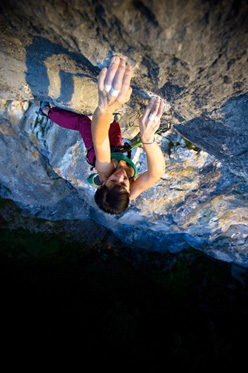 Barbara Raudner making the first ascent of her Mauerblümchen 8b+/8c, Frankenfels, Austria
