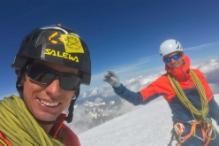 François Cazzanelli and Andreas Steindl on the summit of Mont Blanc after having climbed the Peutérey Integral in 12 hours and 12 minutes