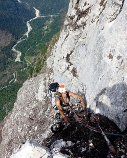 Siebe Vanhee and David Leduc making the first ascent of their Spazzacamino up Terza Pala di San Lucano in the Dolomites