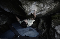 Paul Robinson carrying out the first ascent of Il Trill 8c at the Magic Wood, Switzerland