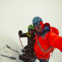 Simon Messner and Martin Sieberer on the summit of Black Tooth, Karakorum on 26/07/2019