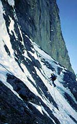 On the traverse of the Heckmaier, taken during the 1989 ascent with Engelbert Pallhuber.