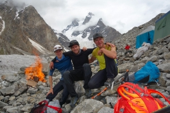 Philipp Brugger, Martin Sieberer and Simon Messner at BC after having made the first ascent of Black Tooth, Karakorum, 07/2019