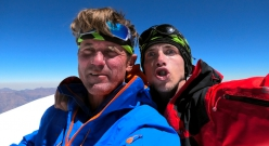 Márek Holeček and Radoslav Groh on the summit of Huandoy North, Peru