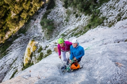 Luka Lindič and Ines Papert repeating End of Silence up Feuerhorn (Berchtesgadener Alps, Germany)