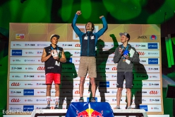 2 Alexander Megos 1 Adam Ondra 3 Jakob Schubert, Lead World Championship 2019 at Hachioji in Japan
