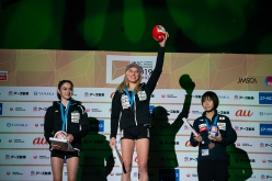 2. Mia Krampl 1. Janja Garnbret 3. Ai Mori, Lead World Championship 2019 at Hachioji in Japan