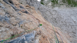 Langkofel, Dolomites: making the first ascent of Parole Sante up the north face (Aaron Moroder, Titus Prinoth, Matteo Vinatzer 1050m, VIII/A1)