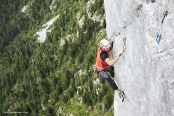 Siebe Vanhee repeating Yeah Man, the 8b+ multi-pitch Gran Pfad, Gastlosen, in Switzerland