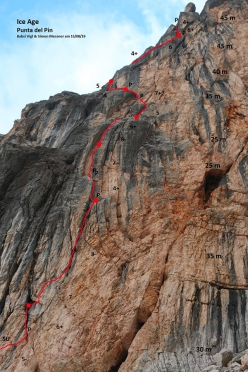 The route line of Ice Age up Punta del Pin, Dolomites (VIII-, 200m, Simon Messner, Barbara Vigl 15/08/2019)