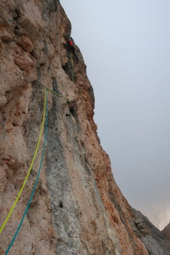 Simon Messner & Barbara Vigl making the first ascent of Ice Age up Punta del Pin in the Dolomites